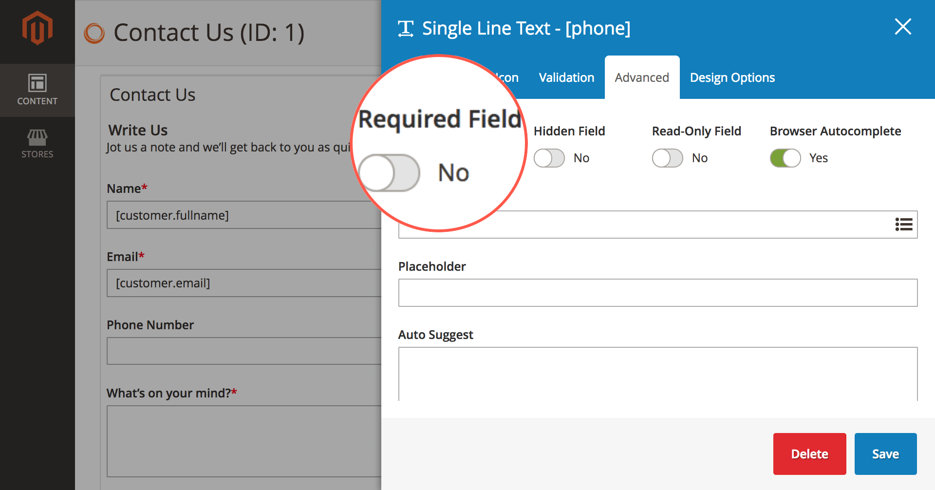 Configure required field in element setting