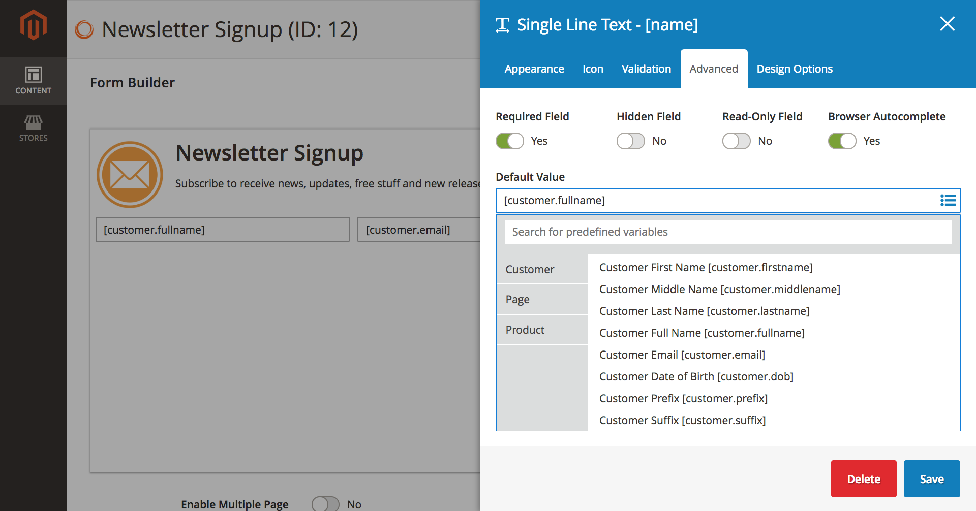 Choose appropriate default values for elements to pre-fill form data for customers