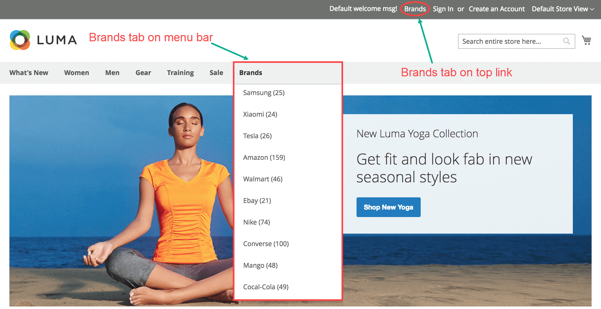 Magento 2 Shop By Brand - Access brand listing page from menu bar & top link