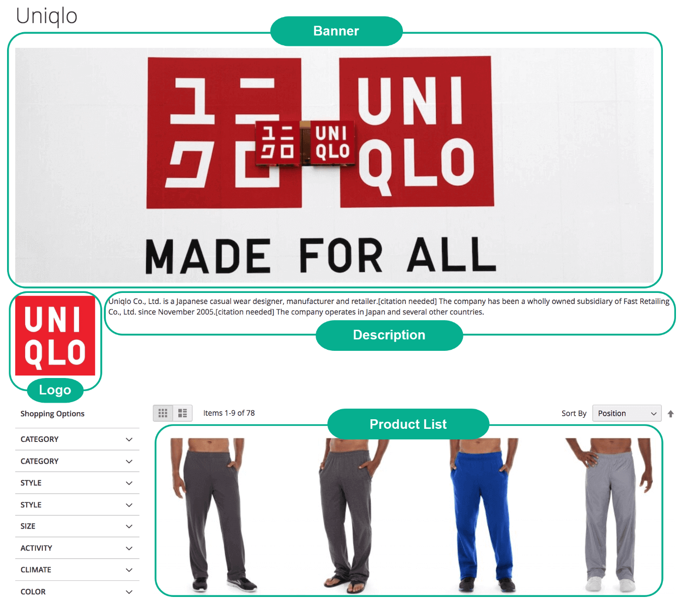Magento 2 Shop By Brand - Brand detailed page