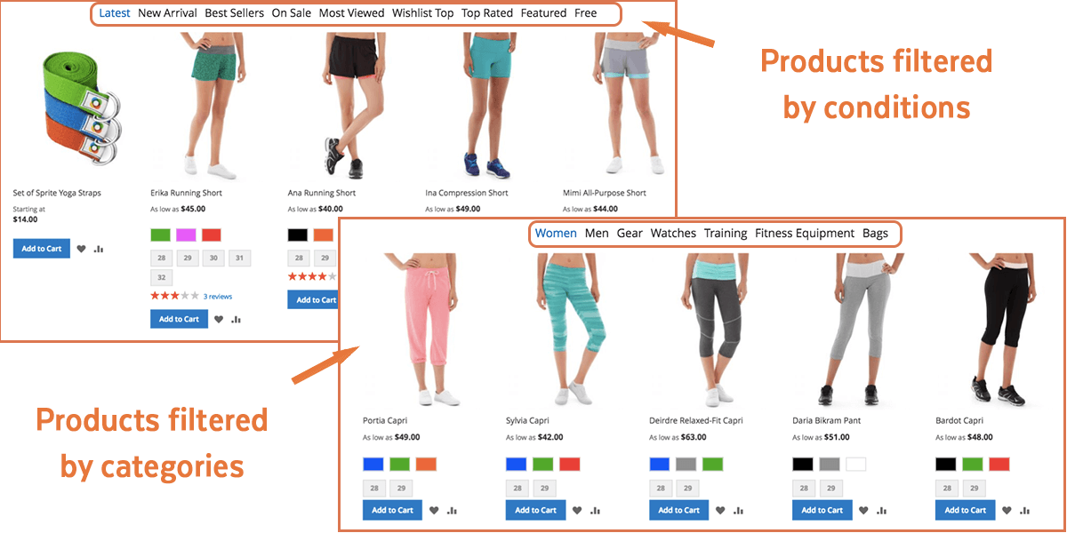 Magento 2 Tabs | Product Filter